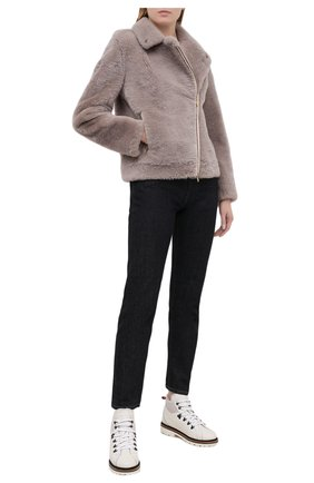 Женские кожаные ботинки KITON белого цвета, арт. DSSMTZWX04R81 | Фото 2