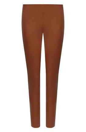 Женские кожаные леггинсы KITON коричневого цвета, арт. D51171X08T62   Фото 1