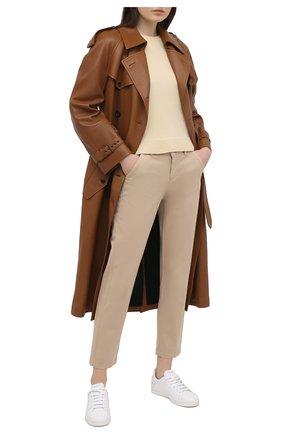 Женские брюки из хлопка и вискозы 7 FOR ALL MANKIND бежевого цвета, арт. JSL4V95LSA | Фото 2