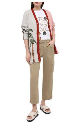 Женские брюки из хлопка и вискозы 7 FOR ALL MANKIND бежевого цвета, арт. JSC0X370AL | Фото 2