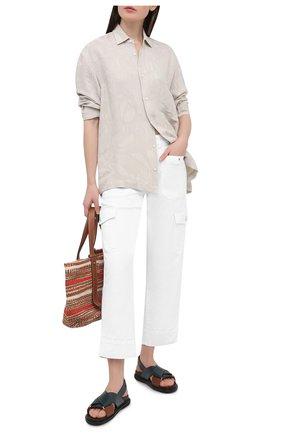 Женские брюки из хлопка и вискозы 7 FOR ALL MANKIND белого цвета, арт. JSC0X3700F | Фото 2