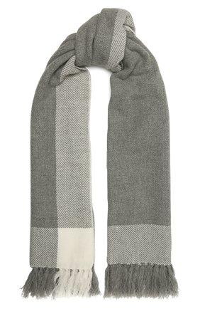 Женский кашемировый шарф LORO PIANA светло-серого цвета, арт. FAL3990 | Фото 1 (Материал: Кашемир, Шерсть; Принт: С принтом)