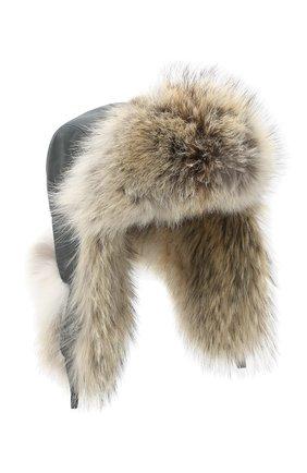 Шапка-ушанка с отделкой из меха койота | Фото №1