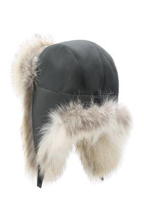 Шапка-ушанка с отделкой из меха койота | Фото №2
