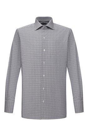 Мужская хлопковая сорочка TOM FORD серого цвета, арт. 9FT130/94S3AX | Фото 1