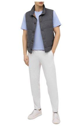 Мужская хлопковая футболка GIORGIO ARMANI голубого цвета, арт. 6GSM90/SJRQZ | Фото 2 (Материал внешний: Хлопок; Рукава: Короткие; Длина (для топов): Стандартные; Стили: Кэжуэл; Принт: С принтом)