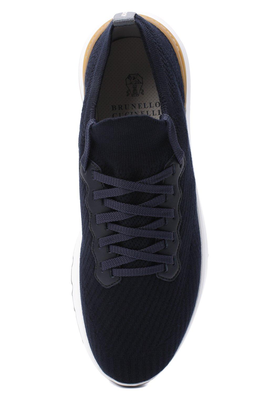 Мужские текстильные кроссовки BRUNELLO CUCINELLI синего цвета, арт. MZUPMB0252   Фото 5