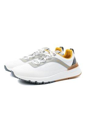 Мужские комбинированные кроссовки BRUNELLO CUCINELLI белого цвета, арт. MZUTBH0255 | Фото 1