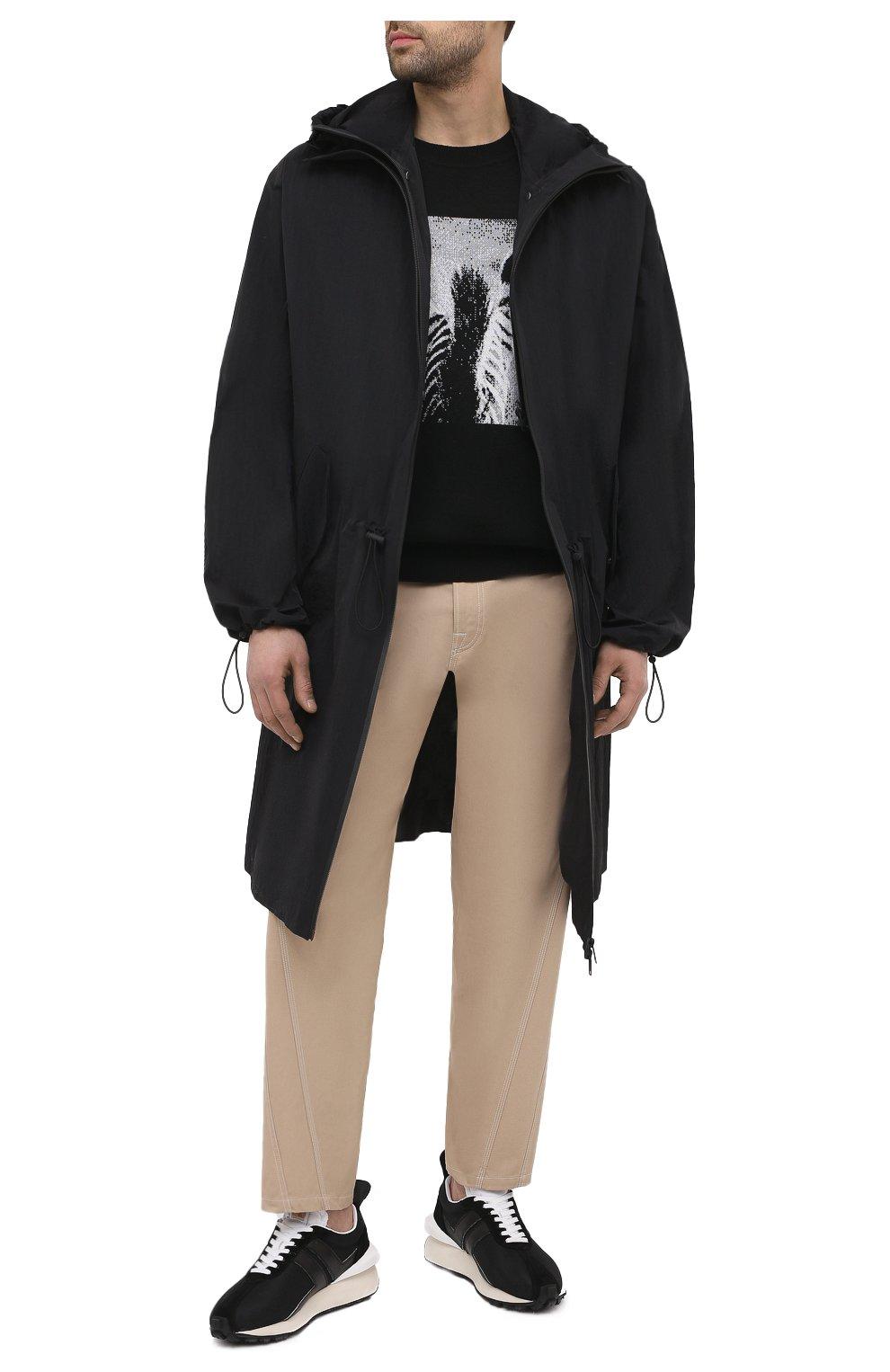 Мужские комбинированные кроссовки LANVIN черного цвета, арт. FM-SKBRUC-DRAG-A20   Фото 2 (Материал внешний: Текстиль; Материал внутренний: Натуральная кожа, Текстиль; Стили: Гранж; Подошва: Массивная)