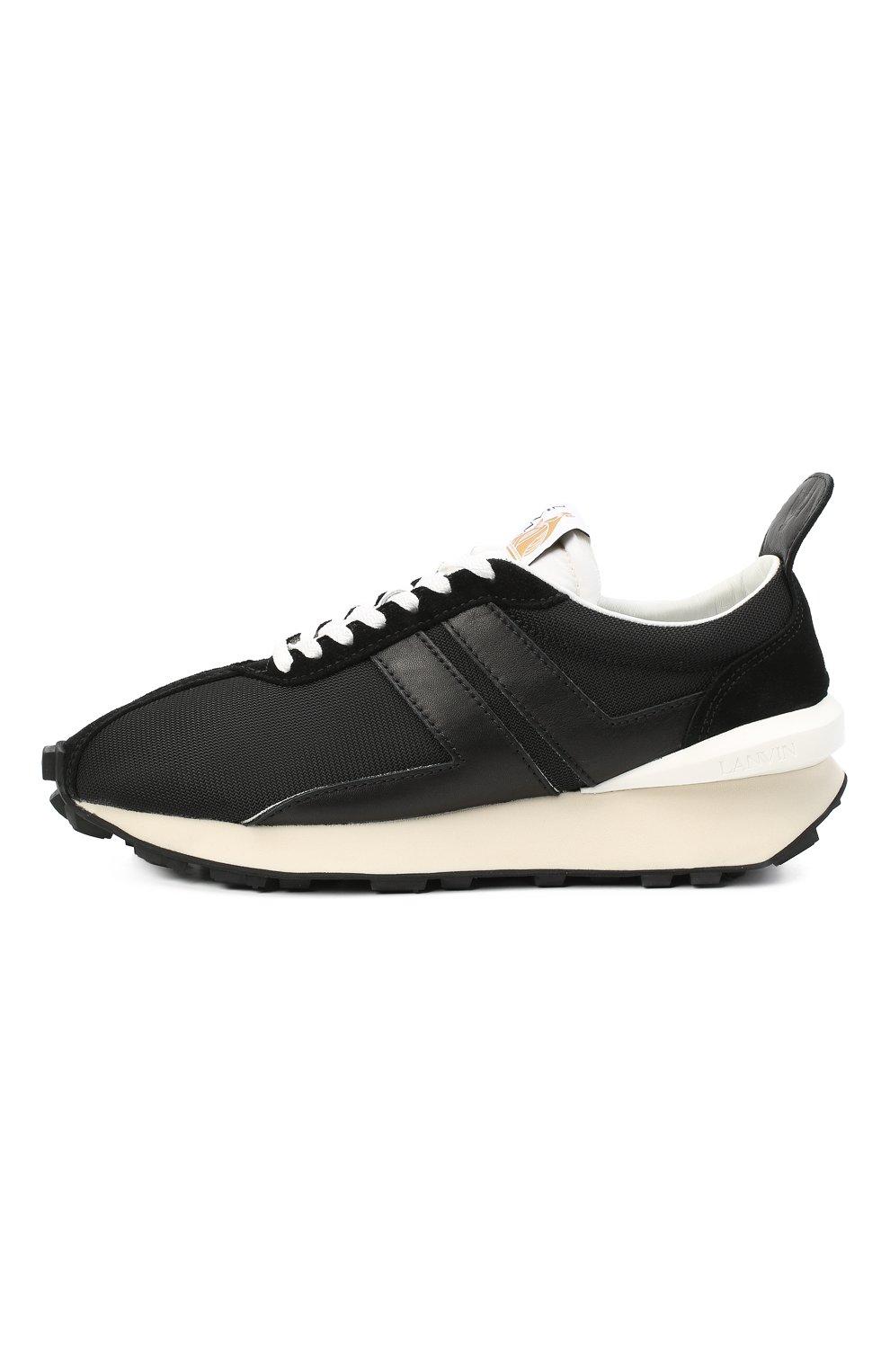Мужские комбинированные кроссовки LANVIN черного цвета, арт. FM-SKBRUC-DRAG-A20   Фото 3 (Материал внешний: Текстиль; Материал внутренний: Натуральная кожа, Текстиль; Стили: Гранж; Подошва: Массивная)