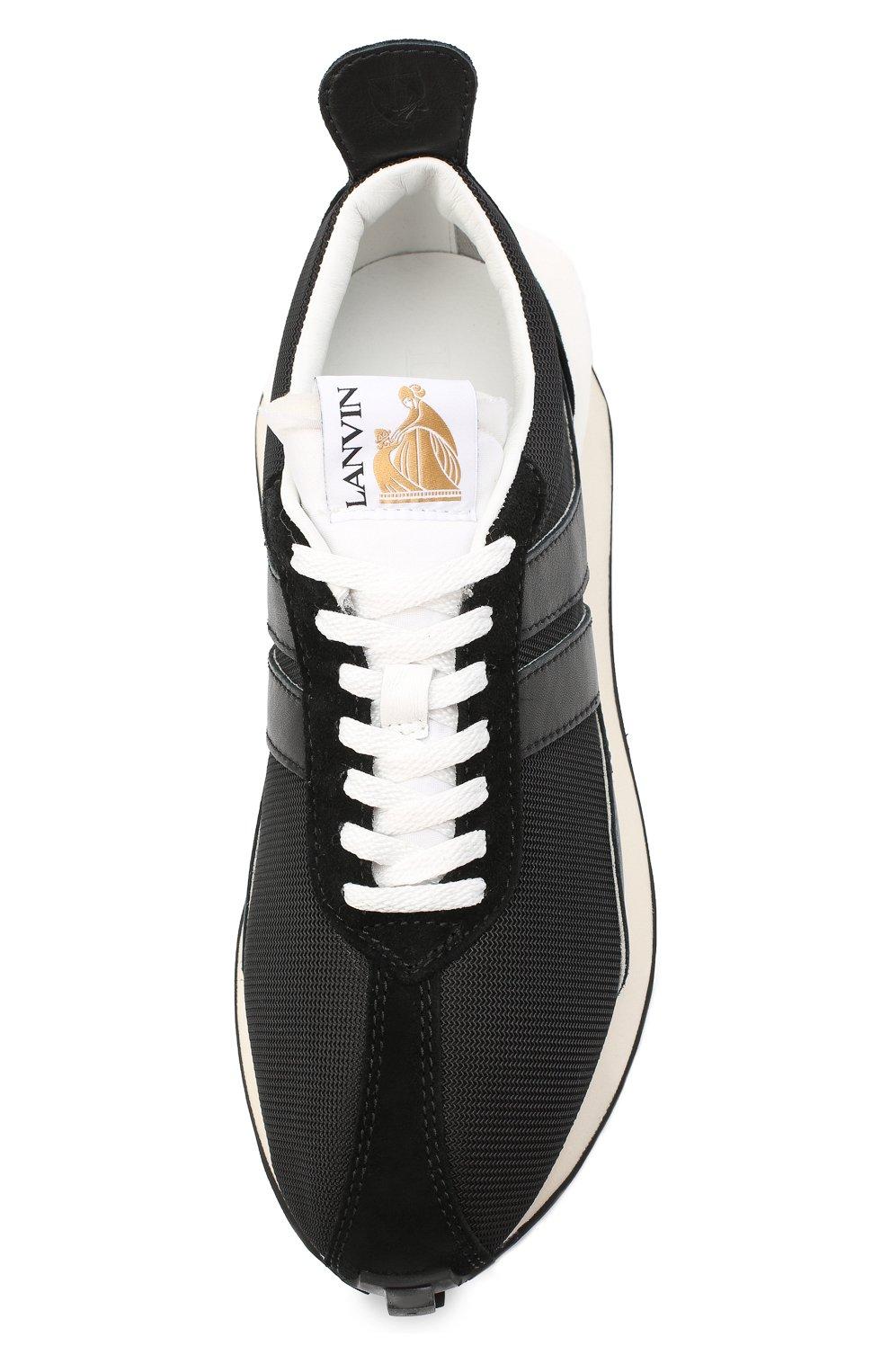 Мужские комбинированные кроссовки LANVIN черного цвета, арт. FM-SKBRUC-DRAG-A20   Фото 5 (Материал внешний: Текстиль; Материал внутренний: Натуральная кожа, Текстиль; Стили: Гранж; Подошва: Массивная)