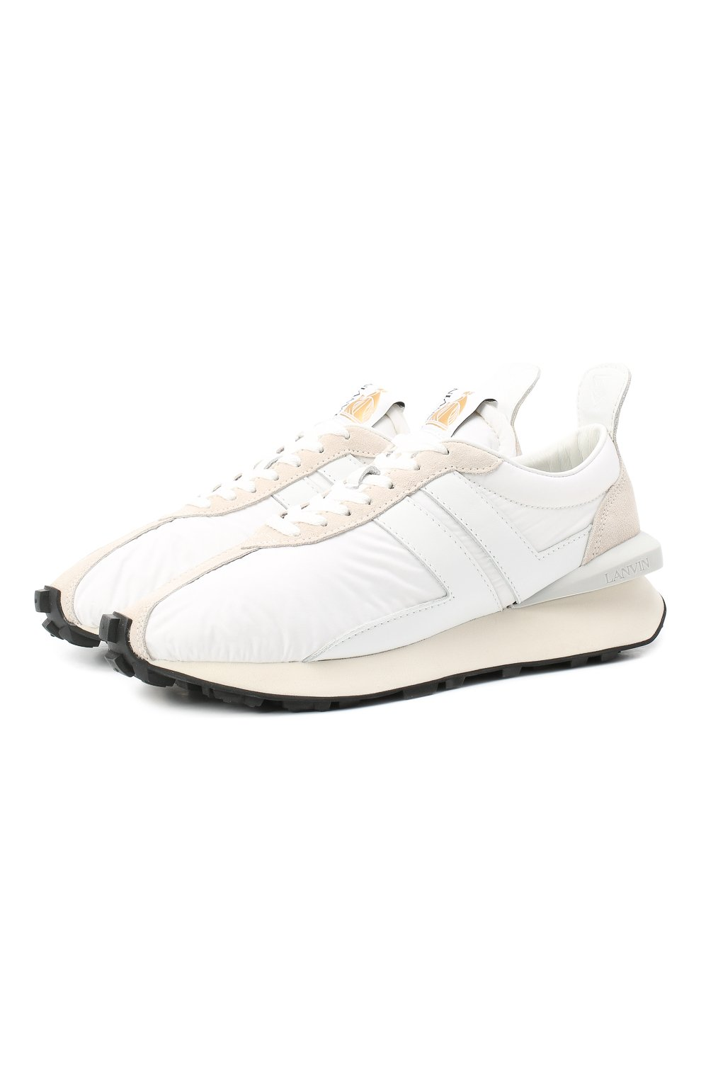 Мужские комбинированные кроссовки LANVIN белого цвета, арт. FM-SKBRUC-NYL0-A20 | Фото 1 (Материал внешний: Текстиль; Материал внутренний: Натуральная кожа, Текстиль; Стили: Гранж; Подошва: Массивная)