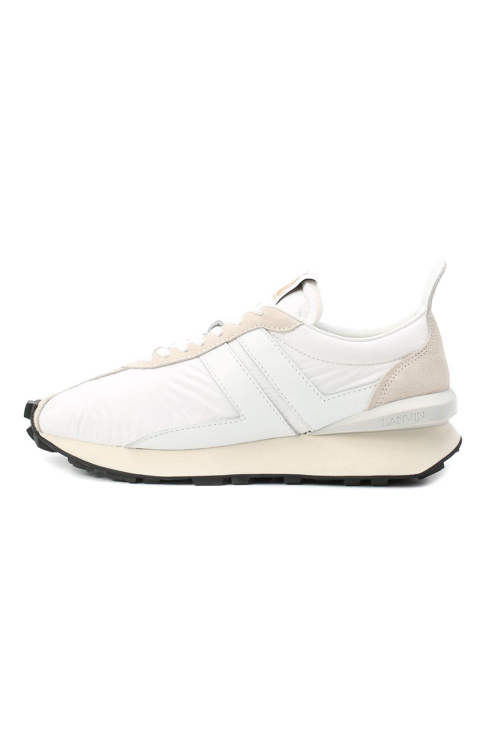 Мужские комбинированные кроссовки LANVIN белого цвета, арт. FM-SKBRUC-NYL0-A20 | Фото 3 (Материал внешний: Текстиль; Материал внутренний: Натуральная кожа, Текстиль; Стили: Гранж; Подошва: Массивная)