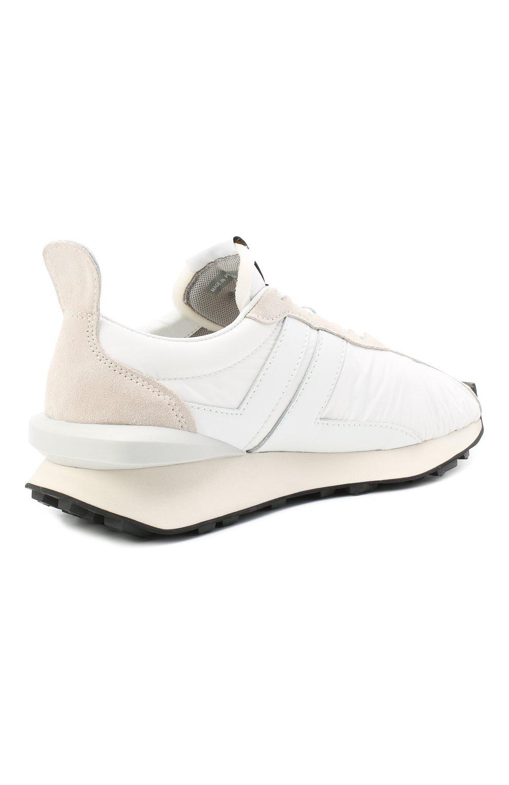 Мужские комбинированные кроссовки LANVIN белого цвета, арт. FM-SKBRUC-NYL0-A20 | Фото 4 (Материал внешний: Текстиль; Материал внутренний: Натуральная кожа, Текстиль; Стили: Гранж; Подошва: Массивная)