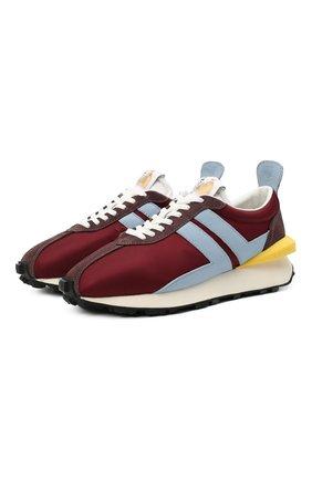 Мужские комбинированные кроссовки LANVIN бордового цвета, арт. FM-SKBRUC-NYL0-A20 | Фото 1