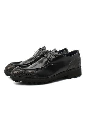 Мужские кожаные дерби ZILLI SPORT черного цвета, арт. MDU-B077/001 | Фото 1