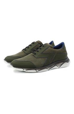 Мужские кожаные кроссовки ZILLI зеленого цвета, арт. MDU-T130/001 | Фото 1