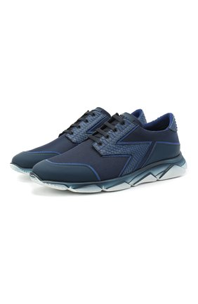 Мужские комбинированные кроссовки ZILLI темно-синего цвета, арт. MDU-T130/0A4 | Фото 1