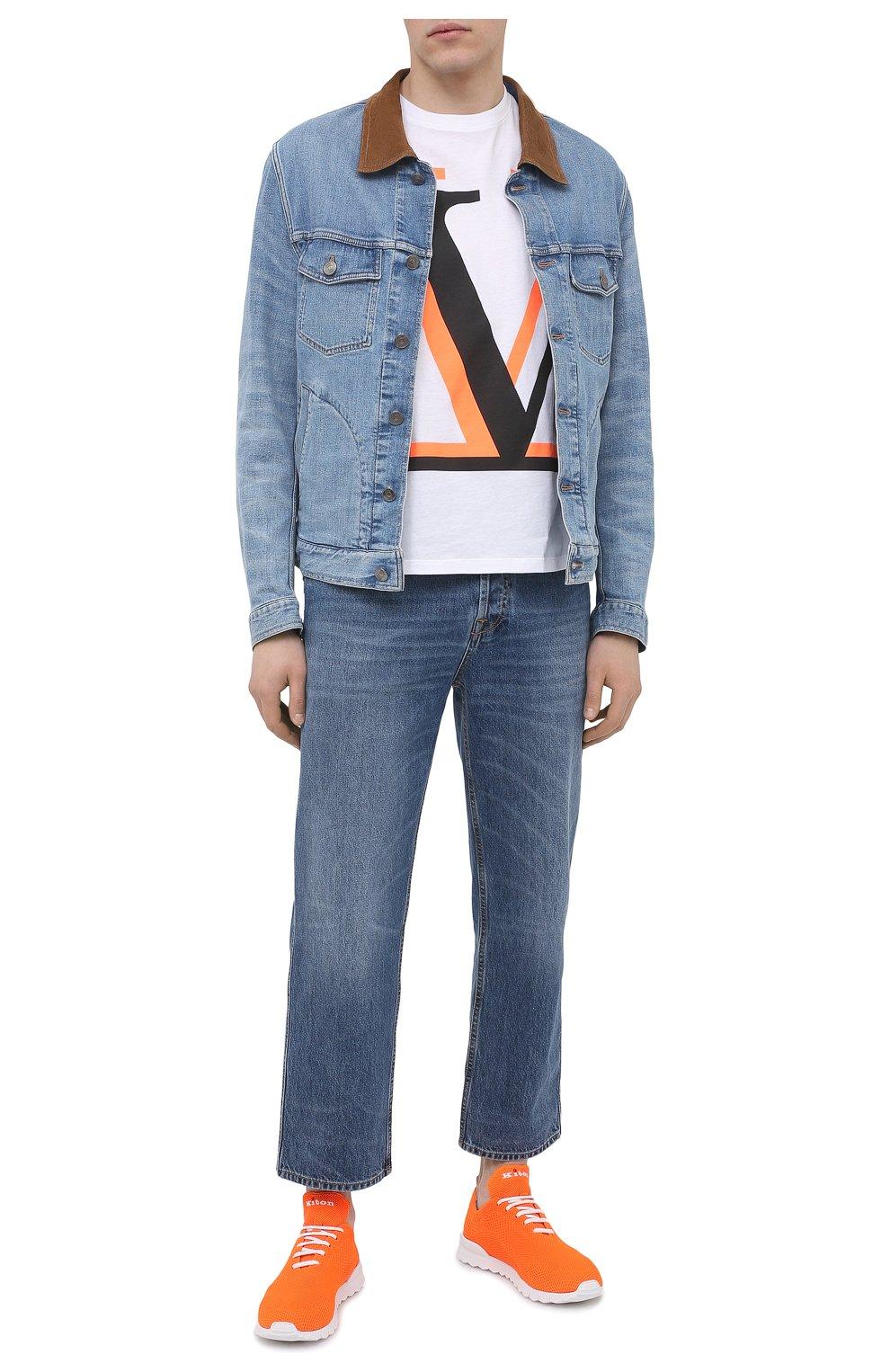 Мужские текстильные кроссовки KITON оранжевого цвета, арт. USSFITSN00809 | Фото 2