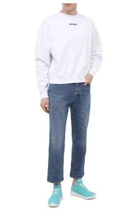 Мужские текстильные кроссовки KITON голубого цвета, арт. USSFITSN00809 | Фото 2
