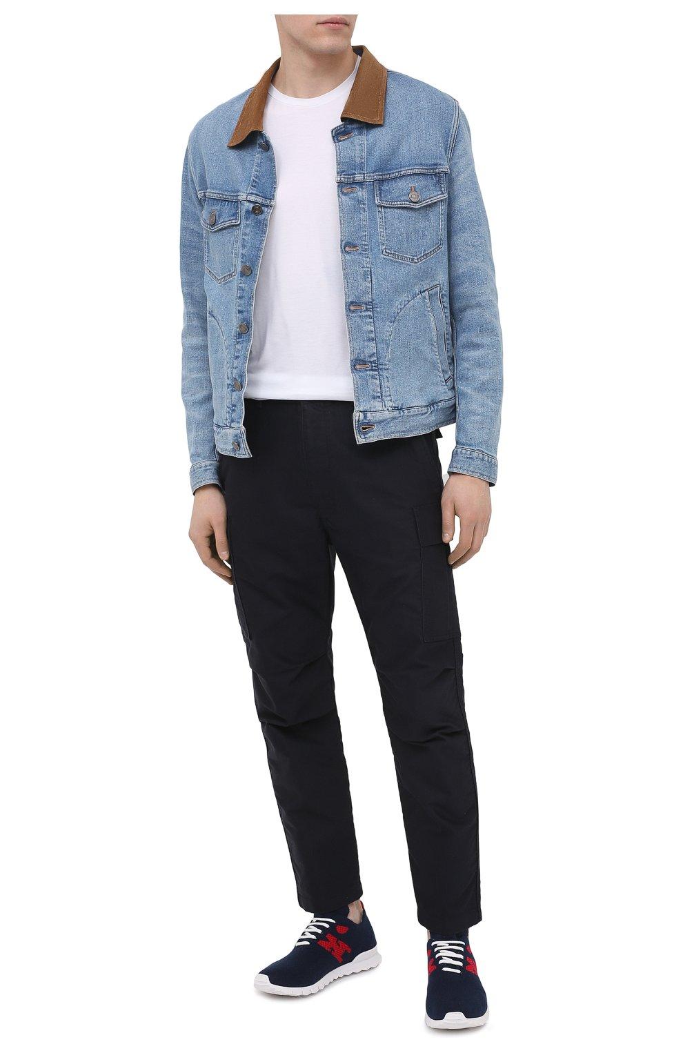 Мужские текстильные кроссовки KITON темно-синего цвета, арт. USSKD0TN00822 | Фото 2 (Материал внешний: Текстиль; Материал внутренний: Натуральная кожа; Подошва: Массивная; Стили: Спорт)