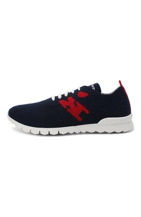 Мужские текстильные кроссовки KITON темно-синего цвета, арт. USSKD0TN00822 | Фото 3 (Материал внешний: Текстиль; Материал внутренний: Натуральная кожа; Подошва: Массивная; Стили: Спорт)