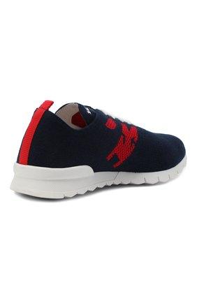 Мужские текстильные кроссовки KITON темно-синего цвета, арт. USSKD0TN00822 | Фото 4 (Материал внешний: Текстиль; Материал внутренний: Натуральная кожа; Подошва: Массивная; Стили: Спорт)