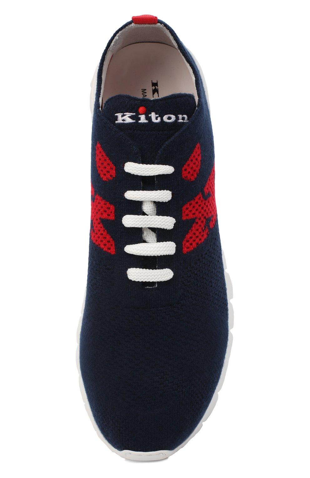 Мужские текстильные кроссовки KITON темно-синего цвета, арт. USSKD0TN00822 | Фото 5 (Материал внешний: Текстиль; Материал внутренний: Натуральная кожа; Подошва: Массивная; Стили: Спорт)