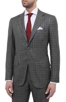 Мужской костюм из кашемира и шелка KITON серого цвета, арт. UA81K06T12   Фото 2