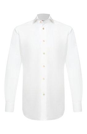 Мужская сорочка из хлопка и льна KITON белого цвета, арт. UCCH0660901 | Фото 1