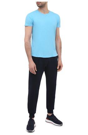 Мужская хлопковая футболка ORLEBAR BROWN голубого цвета, арт. 273286 | Фото 2