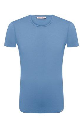 Мужская хлопковая футболка ORLEBAR BROWN голубого цвета, арт. 272637 | Фото 1