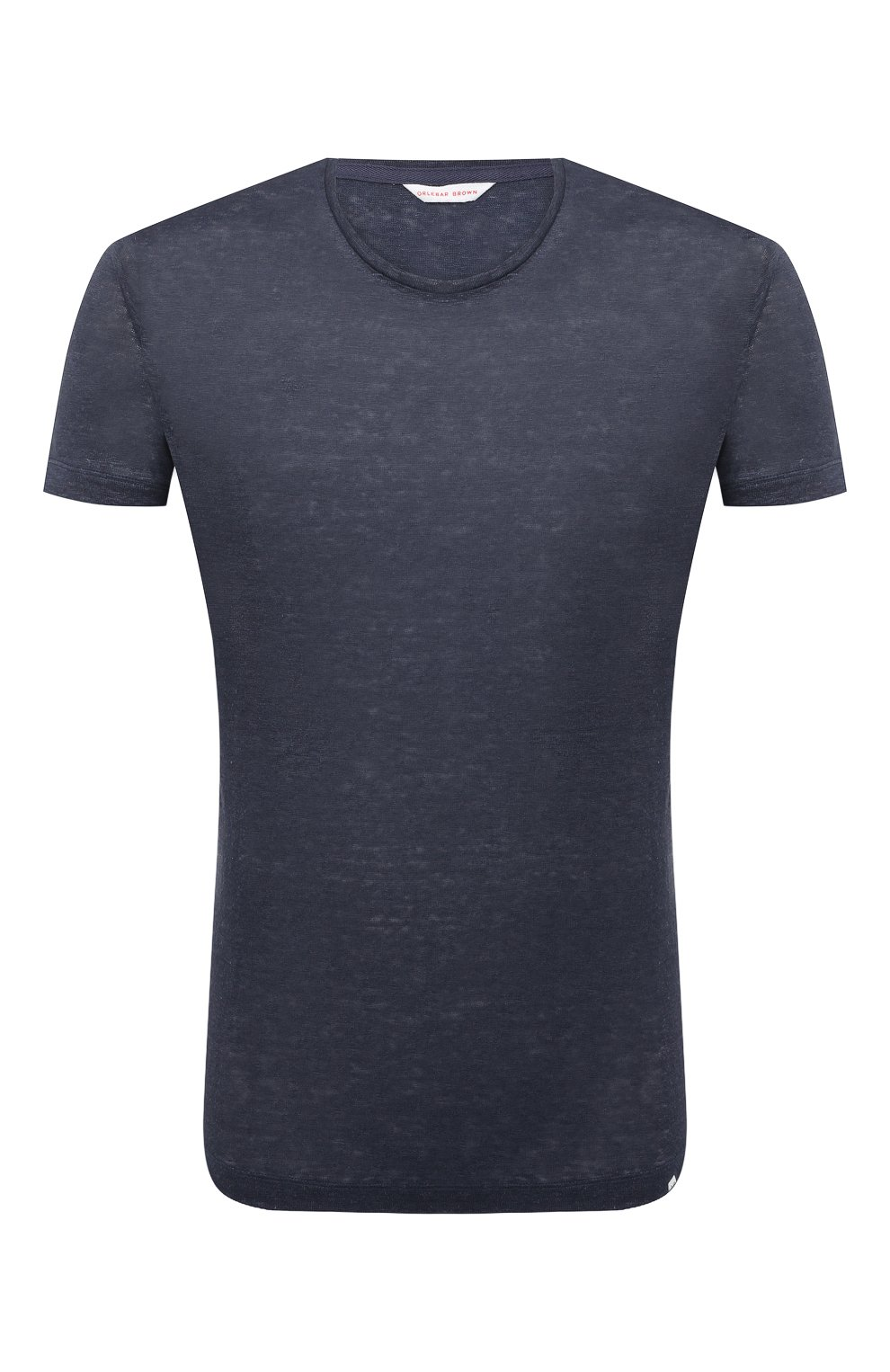 Мужская льняная футболка ORLEBAR BROWN темно-синего цвета, арт. 265745 | Фото 1 (Кросс-КТ: домашняя одежда; Рукава: Короткие; Длина (для топов): Стандартные; Мужское Кросс-КТ: Футболка-белье; Материал внешний: Лен)