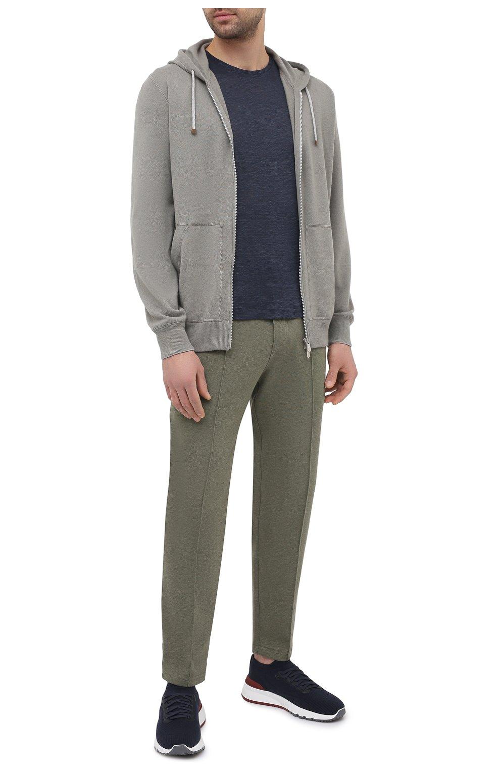 Мужская льняная футболка ORLEBAR BROWN темно-синего цвета, арт. 265745 | Фото 2 (Кросс-КТ: домашняя одежда; Рукава: Короткие; Длина (для топов): Стандартные; Мужское Кросс-КТ: Футболка-белье; Материал внешний: Лен)