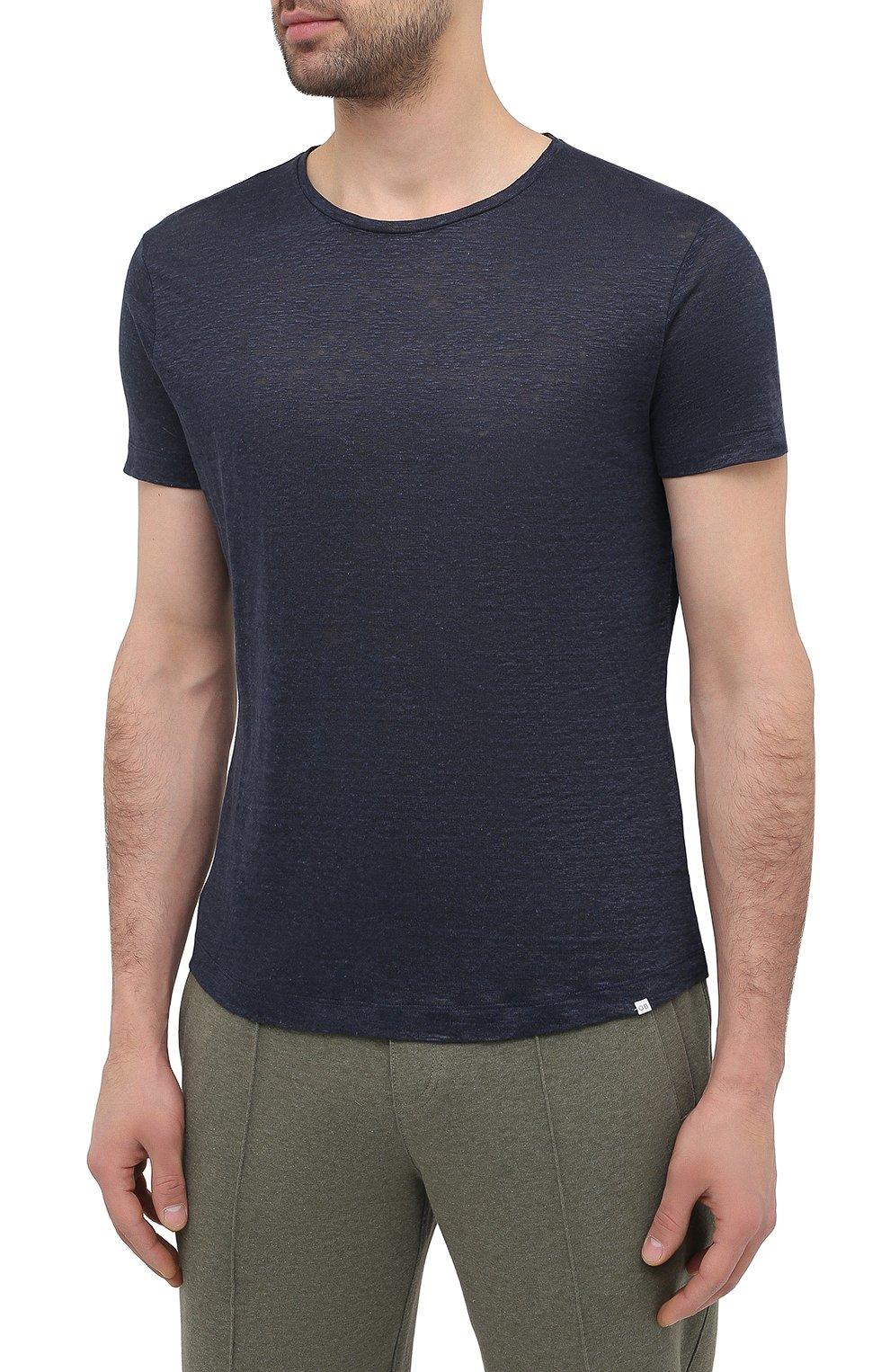 Мужская льняная футболка ORLEBAR BROWN темно-синего цвета, арт. 265745 | Фото 3 (Кросс-КТ: домашняя одежда; Рукава: Короткие; Длина (для топов): Стандартные; Мужское Кросс-КТ: Футболка-белье; Материал внешний: Лен)