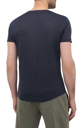 Мужская льняная футболка ORLEBAR BROWN темно-синего цвета, арт. 265745 | Фото 4 (Кросс-КТ: домашняя одежда; Рукава: Короткие; Длина (для топов): Стандартные; Мужское Кросс-КТ: Футболка-белье; Материал внешний: Лен)