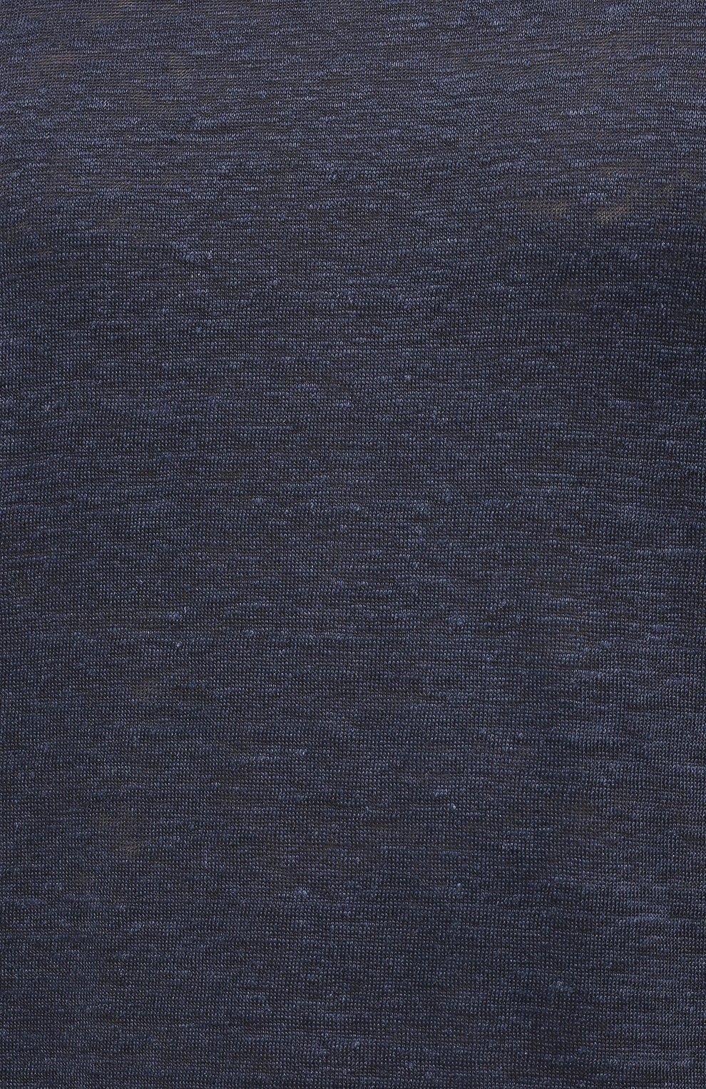 Мужская льняная футболка ORLEBAR BROWN темно-синего цвета, арт. 265745 | Фото 5 (Кросс-КТ: домашняя одежда; Рукава: Короткие; Длина (для топов): Стандартные; Мужское Кросс-КТ: Футболка-белье; Материал внешний: Лен)