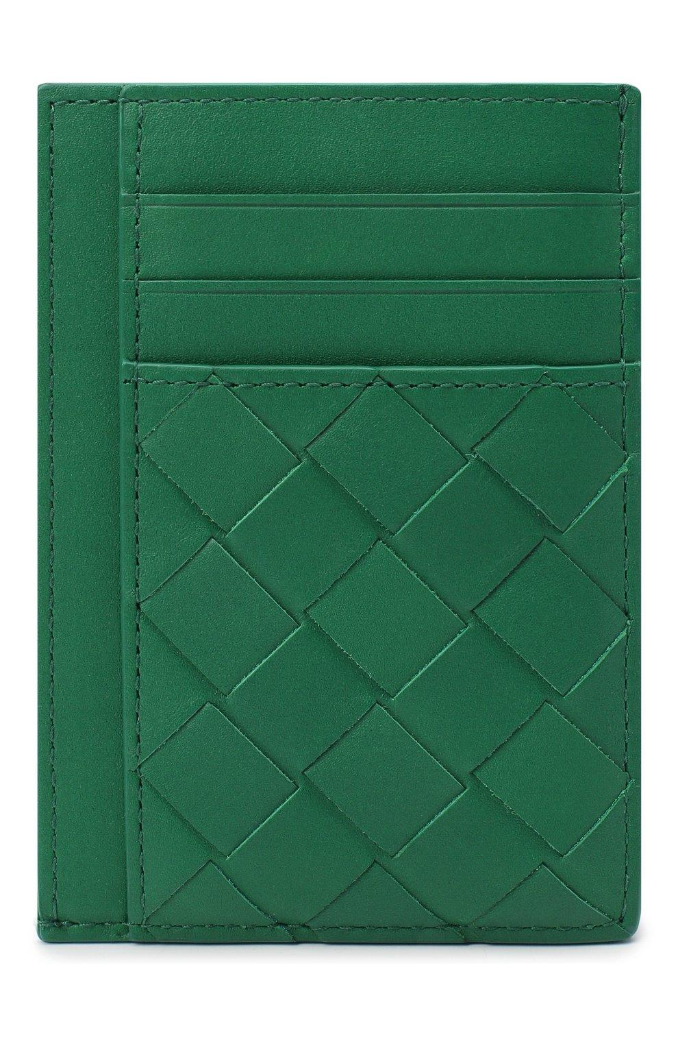Мужской кожаный футляр для кредитных карт BOTTEGA VENETA зеленого цвета, арт. 650527/VCPQ3 | Фото 1 (Материал: Кожа)