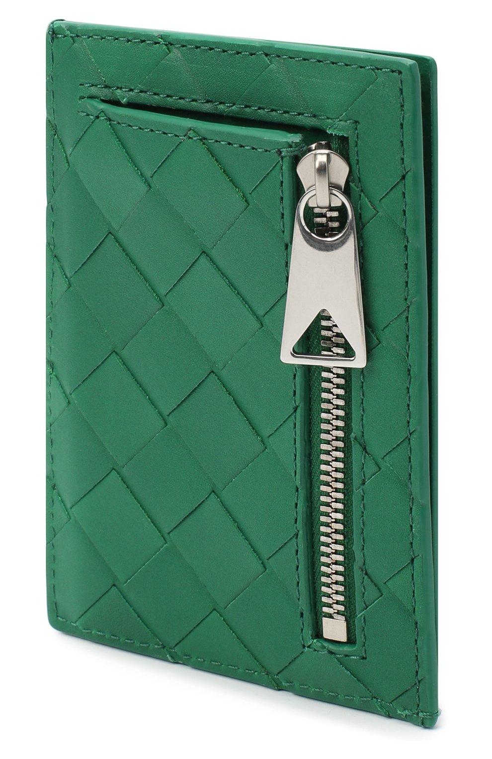 Мужской кожаный футляр для кредитных карт BOTTEGA VENETA зеленого цвета, арт. 650527/VCPQ3 | Фото 2 (Материал: Кожа)