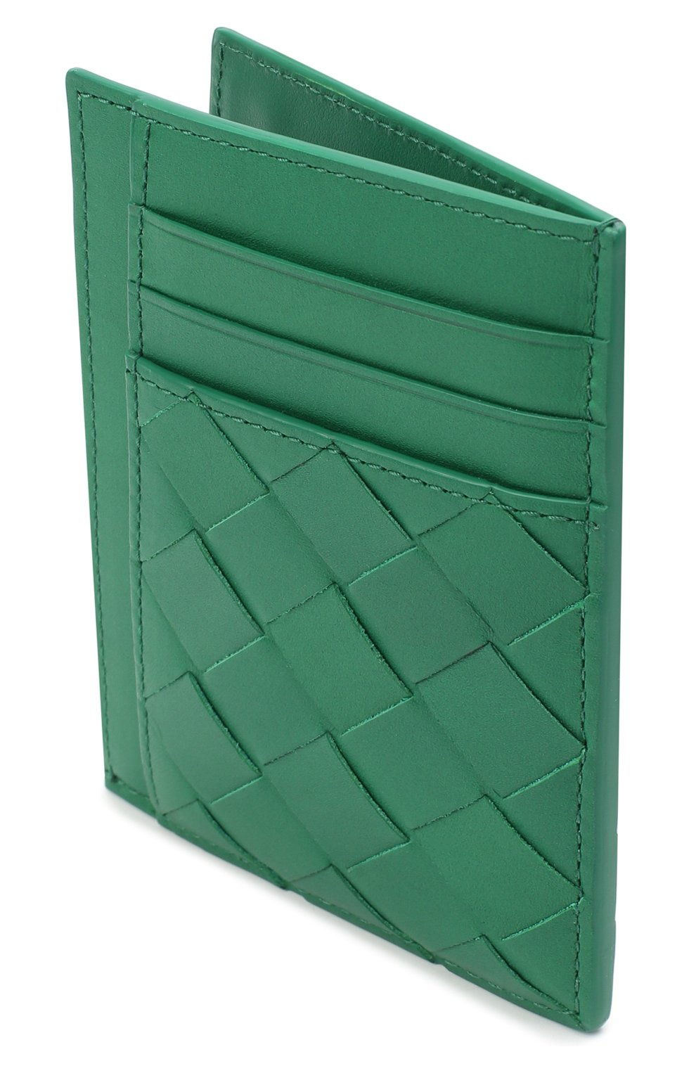Мужской кожаный футляр для кредитных карт BOTTEGA VENETA зеленого цвета, арт. 650527/VCPQ3 | Фото 3 (Материал: Кожа)