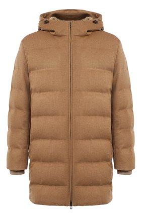 Мужская кашемировый пуховик LORO PIANA светло-коричневого цвета, арт. FAL3493   Фото 1 (Мужское Кросс-КТ: пуховик-короткий; Рукава: Длинные; Кросс-КТ: Куртка; Материал утеплителя: Пух и перо, Шерсть; Длина (верхняя одежда): До середины бедра; Материал внешний: Кашемир, Шерсть; Стили: Кэжуэл)