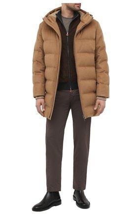 Мужская кашемировый пуховик LORO PIANA светло-коричневого цвета, арт. FAL3493   Фото 2 (Мужское Кросс-КТ: пуховик-короткий; Рукава: Длинные; Кросс-КТ: Куртка; Материал утеплителя: Пух и перо, Шерсть; Длина (верхняя одежда): До середины бедра; Материал внешний: Кашемир, Шерсть; Стили: Кэжуэл)