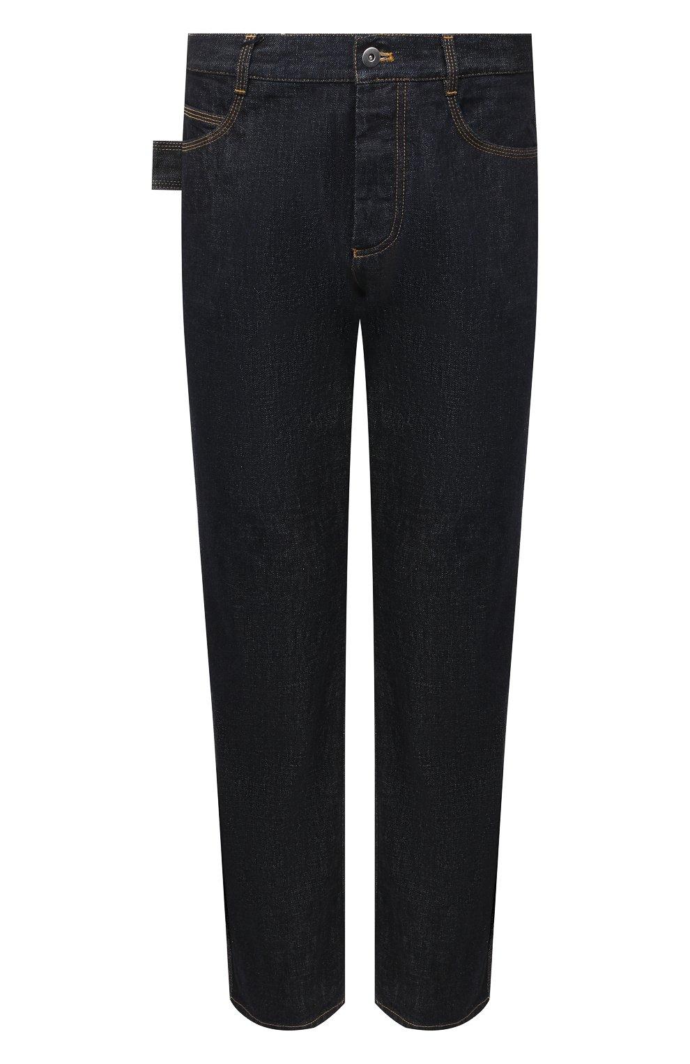 Мужские джинсы BOTTEGA VENETA темно-синего цвета, арт. 649888/V08Y0 | Фото 1 (Силуэт М (брюки): Прямые; Кросс-КТ: Деним; Длина (брюки, джинсы): Стандартные; Материал внешний: Хлопок, Деним; Стили: Минимализм)