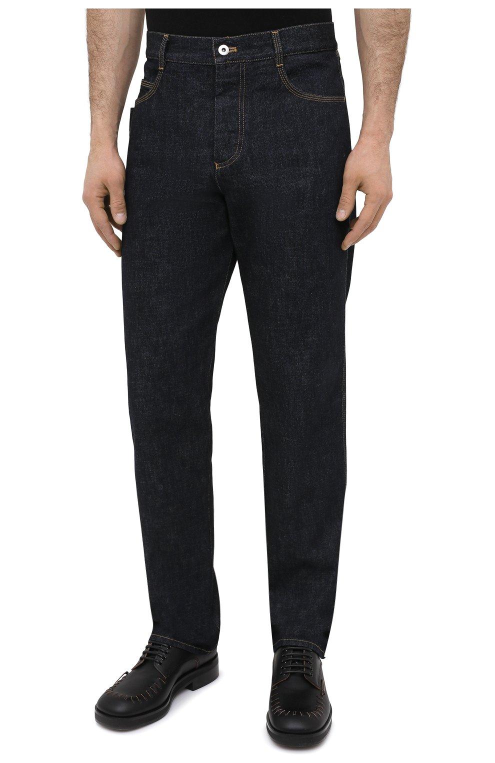 Мужские джинсы BOTTEGA VENETA темно-синего цвета, арт. 649888/V08Y0 | Фото 3 (Силуэт М (брюки): Прямые; Кросс-КТ: Деним; Длина (брюки, джинсы): Стандартные; Материал внешний: Хлопок, Деним; Стили: Минимализм)