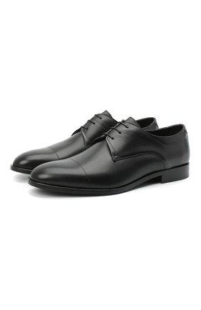 Мужские кожаные дерби HUGO черного цвета, арт. 50445827 | Фото 1 (Стили: Классический)