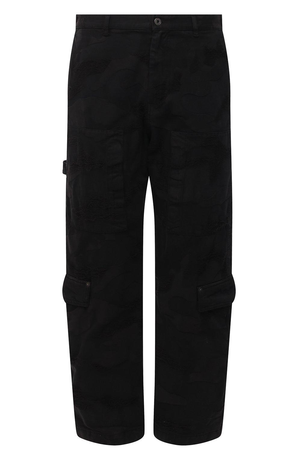 Мужские джинсы VALENTINO черного цвета, арт. VV3DD00R724   Фото 1 (Силуэт М (брюки): Широкие; Кросс-КТ: Деним; Длина (брюки, джинсы): Стандартные; Стили: Гранж; Материал внешний: Хлопок, Деним)