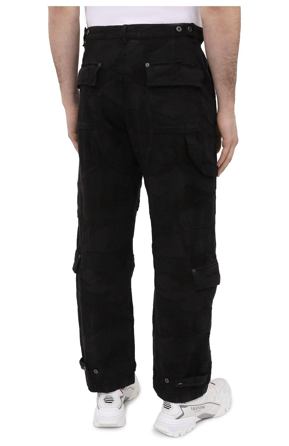 Мужские джинсы VALENTINO черного цвета, арт. VV3DD00R724   Фото 4 (Силуэт М (брюки): Широкие; Кросс-КТ: Деним; Длина (брюки, джинсы): Стандартные; Стили: Гранж; Материал внешний: Хлопок, Деним)