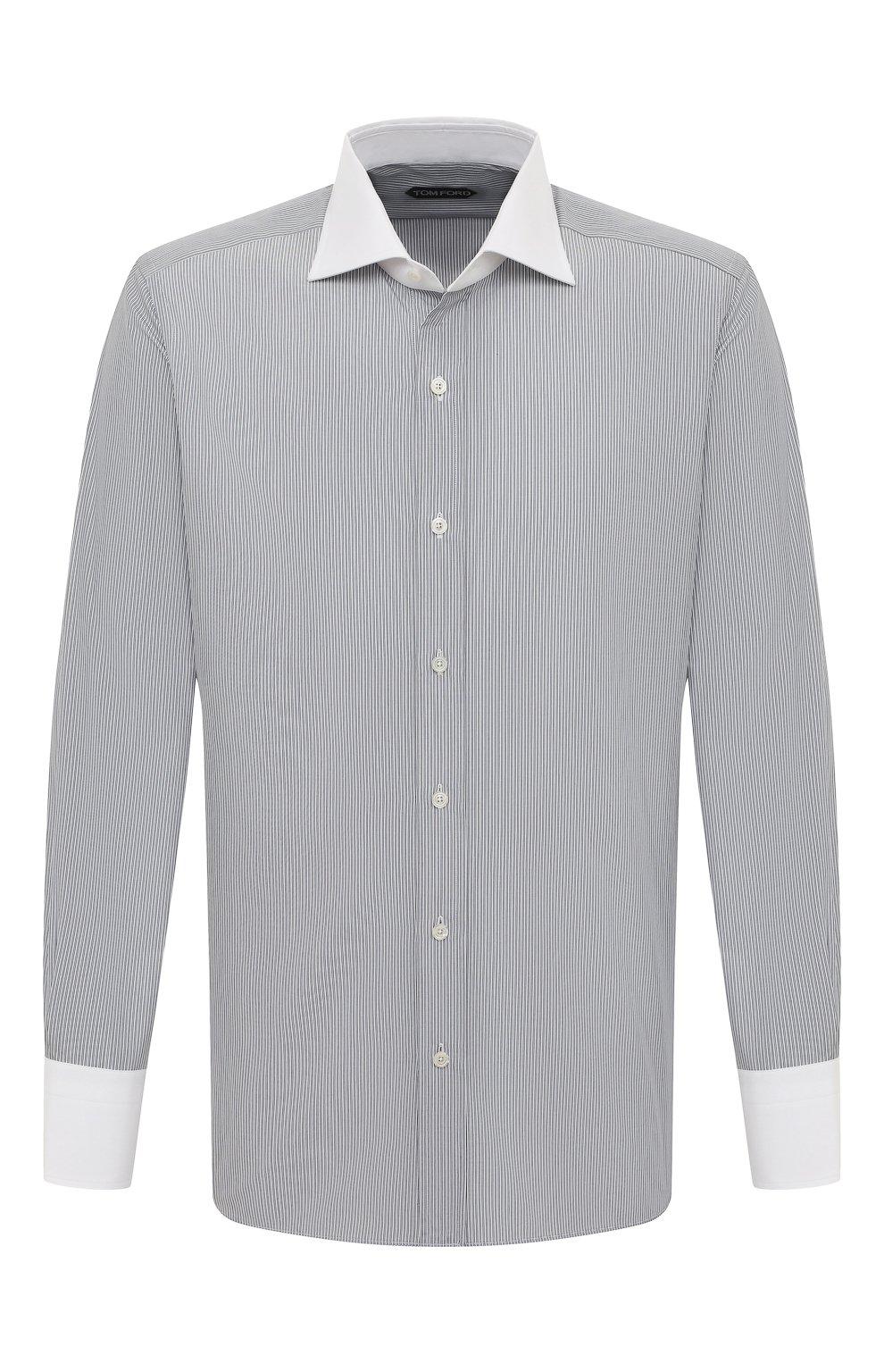 Мужская хлопковая сорочка TOM FORD черно-белого цвета, арт. 9FT020/94SWAX   Фото 1