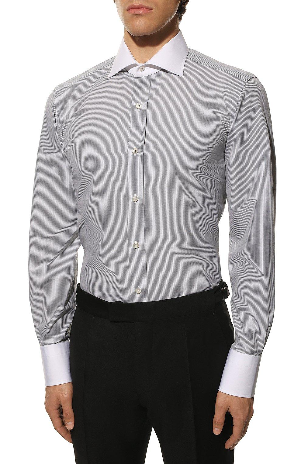 Мужская хлопковая сорочка TOM FORD черно-белого цвета, арт. 9FT020/94SWAX   Фото 3