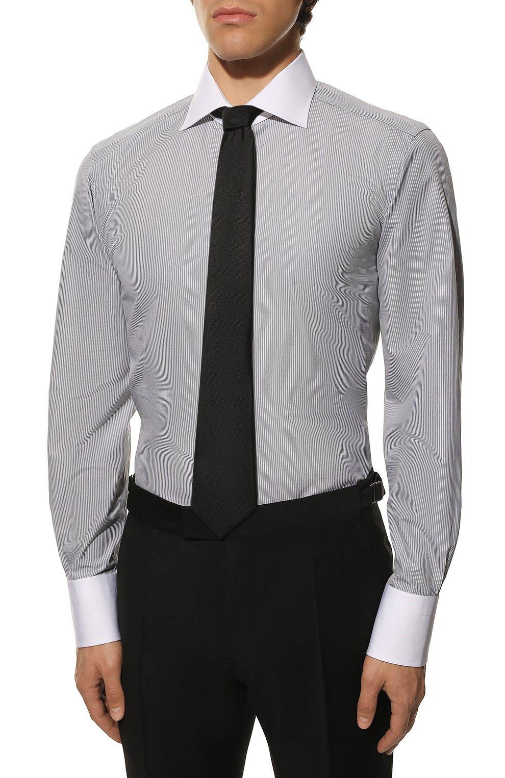 Мужская хлопковая сорочка TOM FORD черно-белого цвета, арт. 9FT020/94SWAX   Фото 4